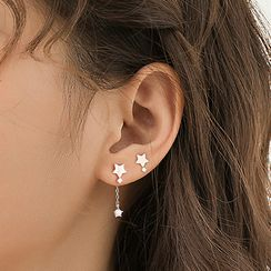 FOON - 925 Sterling Silver Non-Matching Star Dangle Earrings