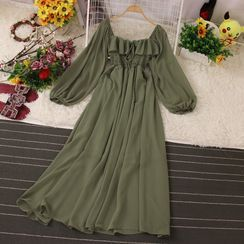 Knutsford - Plain Square-Neck Midi A-Line Dress