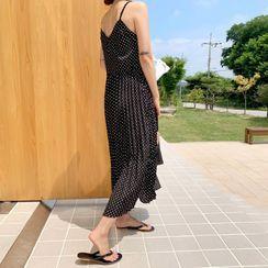 Envy Look - Pleated Polka-Dot Pinafore Dress