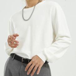 FAERIS - Plain Crew-Neck Knit Top