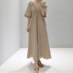 Survenir - Elbow-Sleeve Midi A-Line Dress