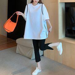 Mushini - 套装:双色调开衩短袖T裇 + 纯色开衩裤