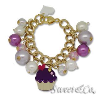 Sweet & Co. - Mini Gold-Violet Cupcake Swarovski Crystal Charm Bracelet