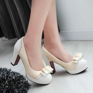 Freesia - Platform Block Heel Bow Pumps