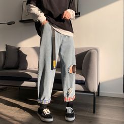 Kimeya - High-Waist Distressed Jeans