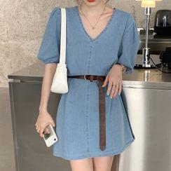 Ashlee - Short-Sleeve Belted Mini A-Line Denim Dress