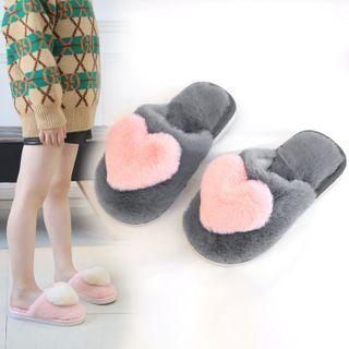 Weiya - Heart Fluffy Home Slippers