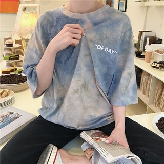 IndiGirl - Oversized Tie-Dye Elbow-Sleeve T-Shirt