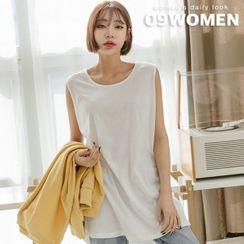 Seoul Fashion - Sleeveless Deep-Slit Long T-Shirt