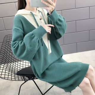 Autunno - Two-Tone Midi Knit Hoodie Dress