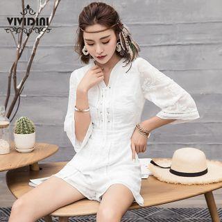 Vividini - 3/4-Sleeve Embroidered Playsuit