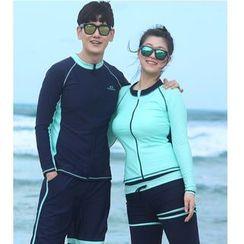 Summer Siren - Couple Matching Two-Tone Bikini / Swim Shorts / Swim Pants / Long-Sleeve Rashguard / Set