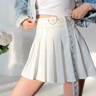Florentine - Pleated Mini A-Line Skirt with Grommet Belt