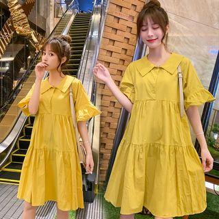 Empressa - 孕妇喇叭袖饰领连衣裙