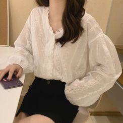 Ashlee - Long-Sleeve V-Neck Lace Blouse