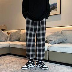 Zentrus - Cropped Plaid Harem Pants