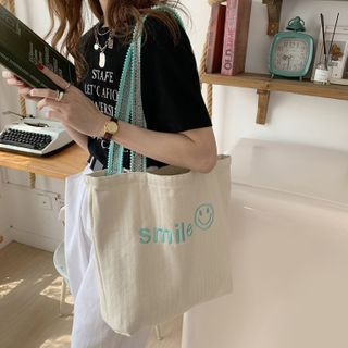 Rubis - Smiley Face Embroidered Tote Bag