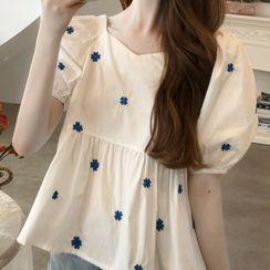 Bambu - 繡花泡泡袖襯衫