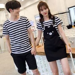 Bonne Nuit - Couple Matching Striped Short-Sleeve T-Shirt / Cartoon Jumper Skirt / Plain Shorts