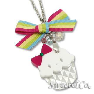 Sweet & Co. - Rainbow Ribbon Swarovski Miss Cupcake Necklace