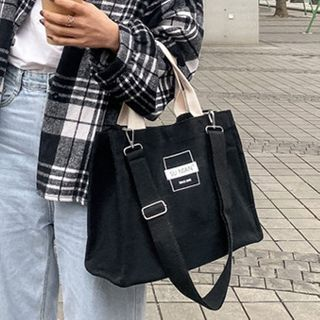 Churori(チュロリ) - Lettering Canvas Tote Bag With Shoulder Bag