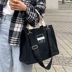 Churori  - Lettering Canvas Tote Bag With Shoulder Bag