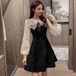 Petit Lace - Long-Sleeve Color-Block Glitter Dress