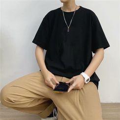 YAVER - Short-Sleeve Plain T-Shirt
