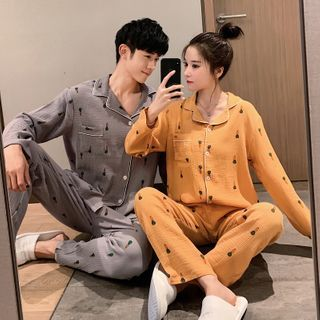 Endormi - Couple Matching Pajama Set: Long-Sleeve Top + Pants
