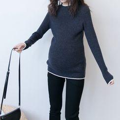Momma Ace - Maternity Contrast Trim Sweater