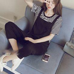 Everose - 套裝:短袖條紋T裇 + 連衣短褲