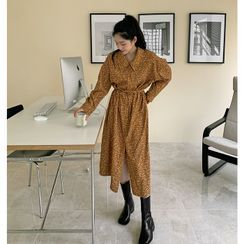 FROMBEGINNING(フロムビギニング) - Tie-Waist Floral Corduroy Long Shirtdress