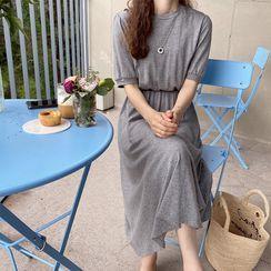 LEELIN - Round-Neck Gathered-Waist T-Shirt Dress