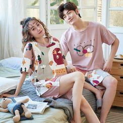 Lion Sniff - Couple Matching Printed Short Sleeve Pajama Set