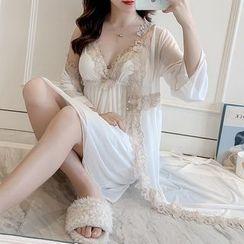 Ciambella - Pajama Set: Spaghetti Strap Lace Trim Dress + Robe