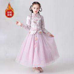 Doveark - Kids Flower Embroidered Mandarin Collar Long-Sleeve A-Line Maxi Dress
