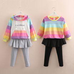 Seashells Kids - Kids Rainbow Stripe Hoodie / Sweatshirt / Inset Legging Skirt Set