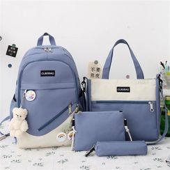 Tango Sky - Set: Two-Tone Backpack + Tote Bag + Crossbody Bag + Pencil Case
