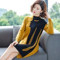 Jeonseon - 面部印花毛衣连衣裙