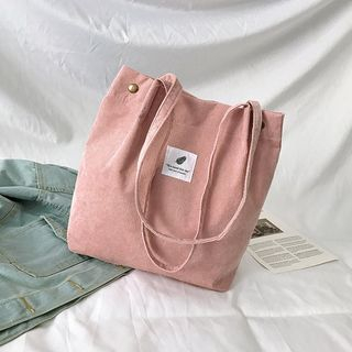 Behere - Appliqued Corduroy Tote Bag