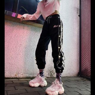YouLover - 反光條紋工裝慢跑褲