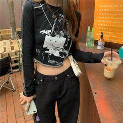 Avox - Long-Sleeve Printed Asymmetrical Hem Cropped T-Shirt