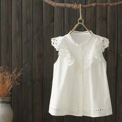 Angel Love - Sleeveless Lace Trim Buttoned Blouse