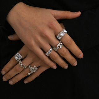 Seirios - Set: Faux Crystal Alloy Ring (assorted designs)
