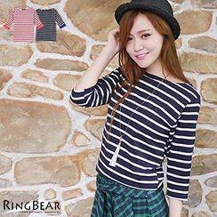 RingBear - 3/4 Sleeve Striped Tee