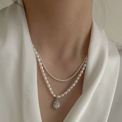 Foreflow - Freshwater Pearl Pendant Layered Necklace
