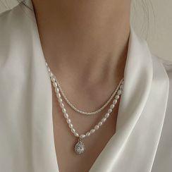 Foreflow - 淡水珍珠吊坠多层项链