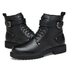 NOVO - Lace-Up Genuine Leather Short Boots