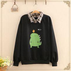 Kawaii Fairyland - Inset Gingham Shirt Dinosaur Print Sweatshirt