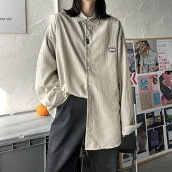 8th Sense - Long-Sleeve Applique Striped Shirt